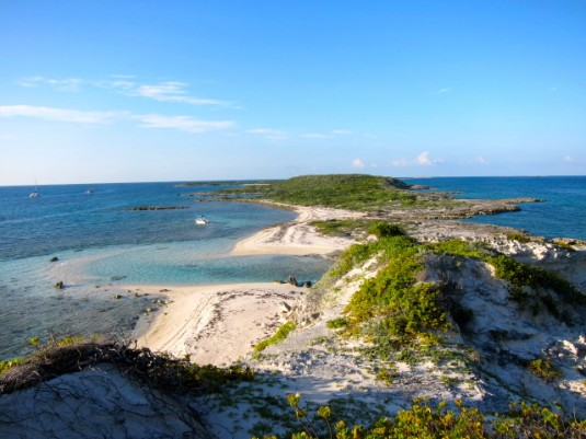 A view of narrow Water Cay from the top. We started surveys of the deeper waters (right side of the island), but ended up with more extensive surveys of the shallows (left side of the island).
